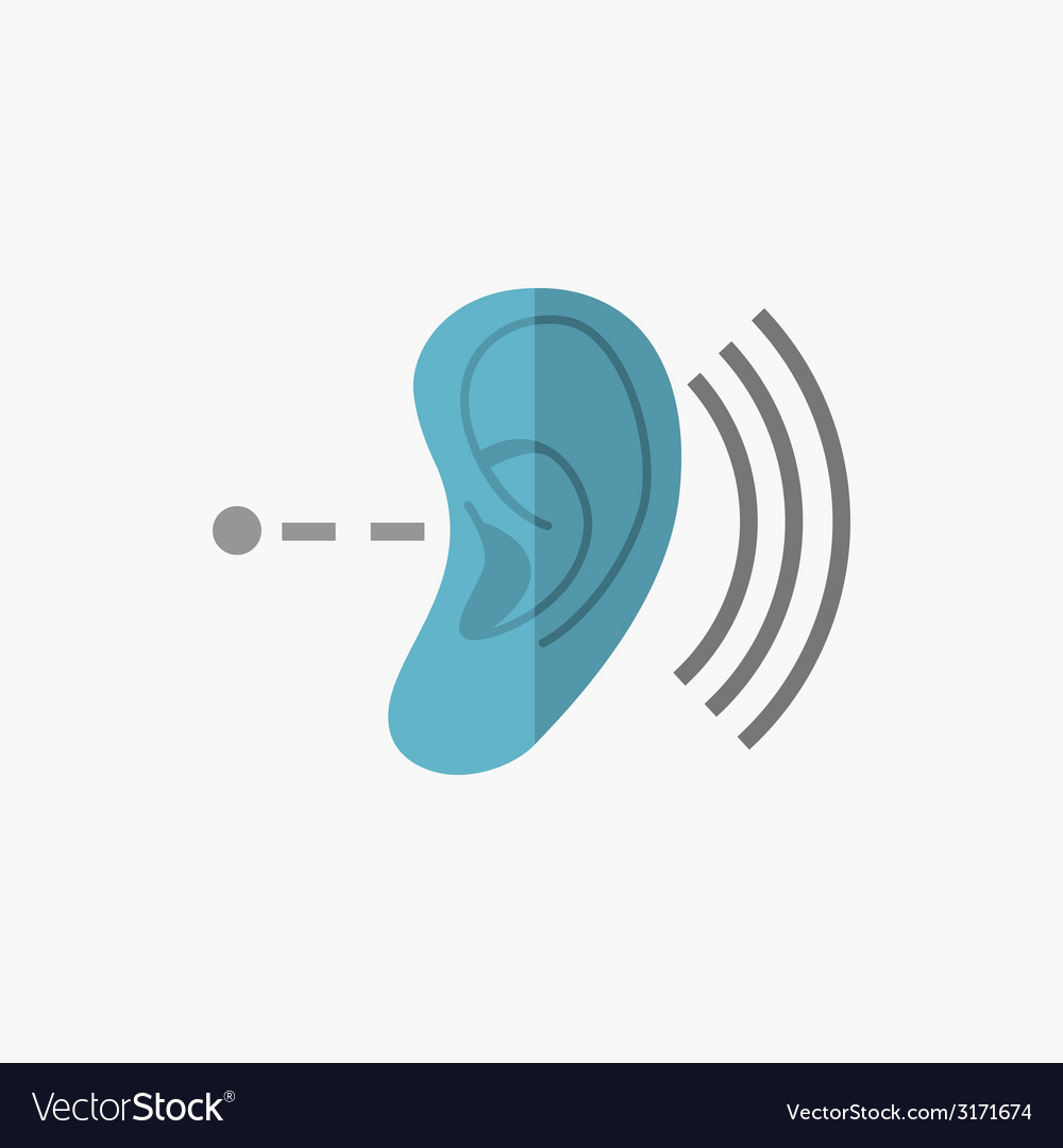 Deafness flat icon vector | Price: 1 Credit (USD $1)