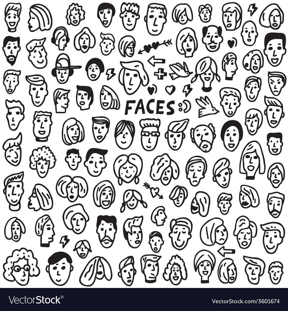 Faces - doodles set vector | Price: 1 Credit (USD $1)