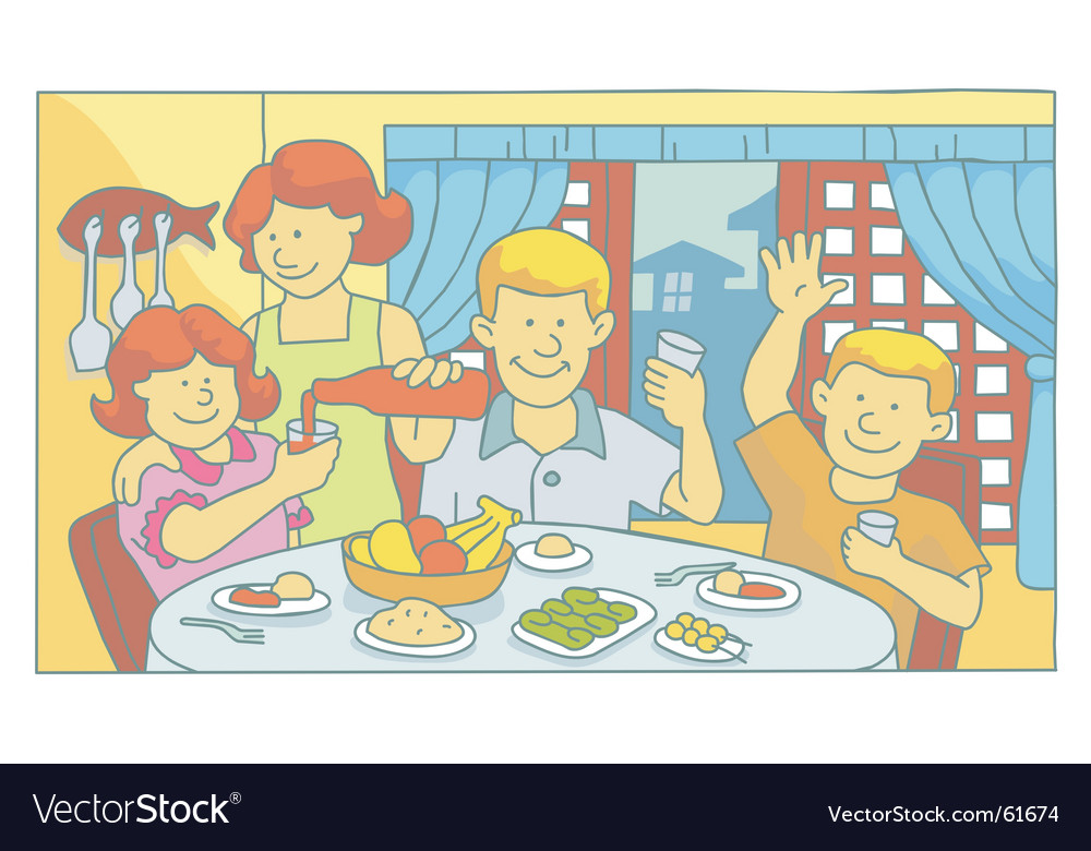 Family at mealtime vector | Price: 1 Credit (USD $1)