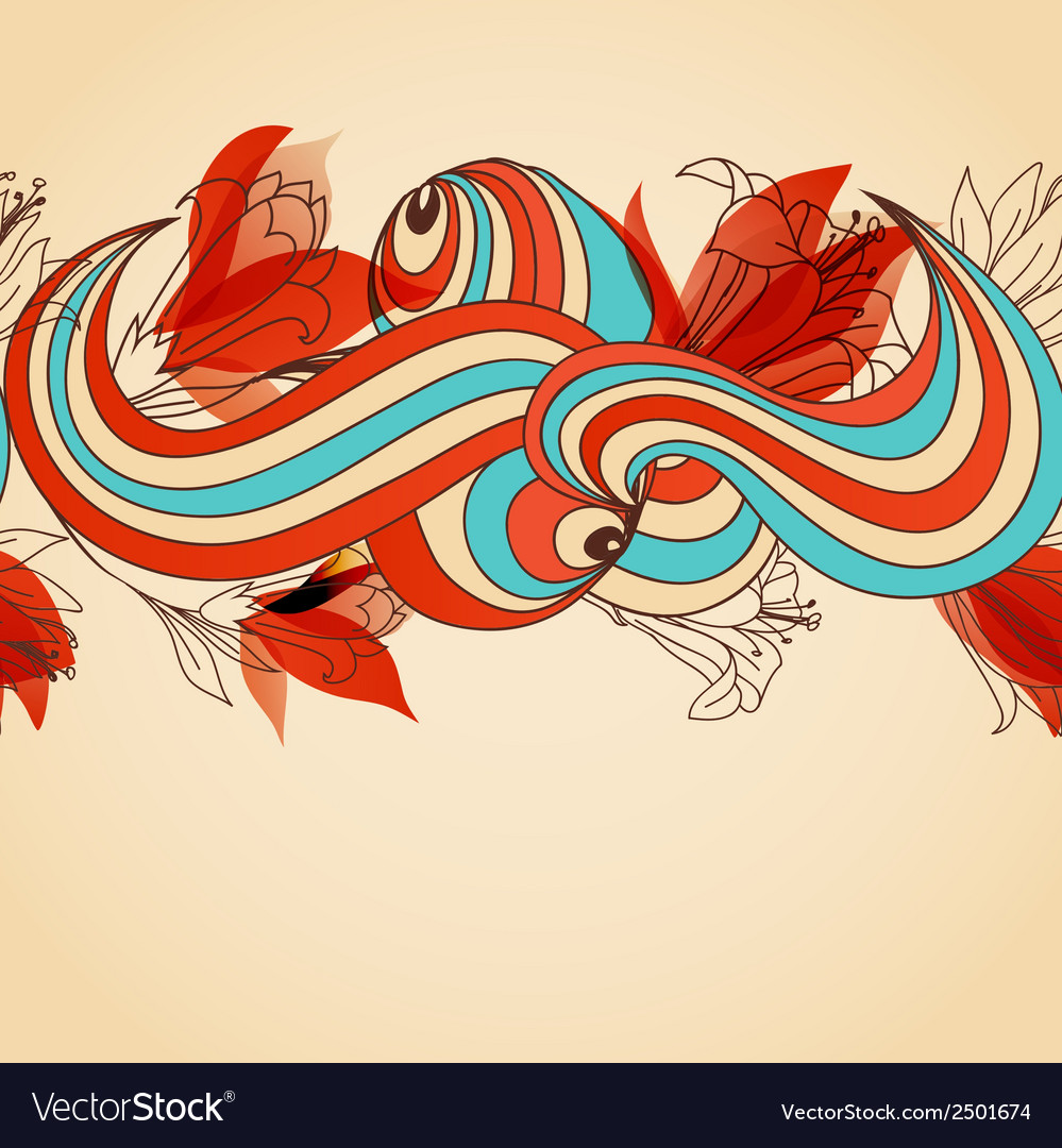 Floral seamless pattern abstract swirls and red vector | Price: 1 Credit (USD $1)