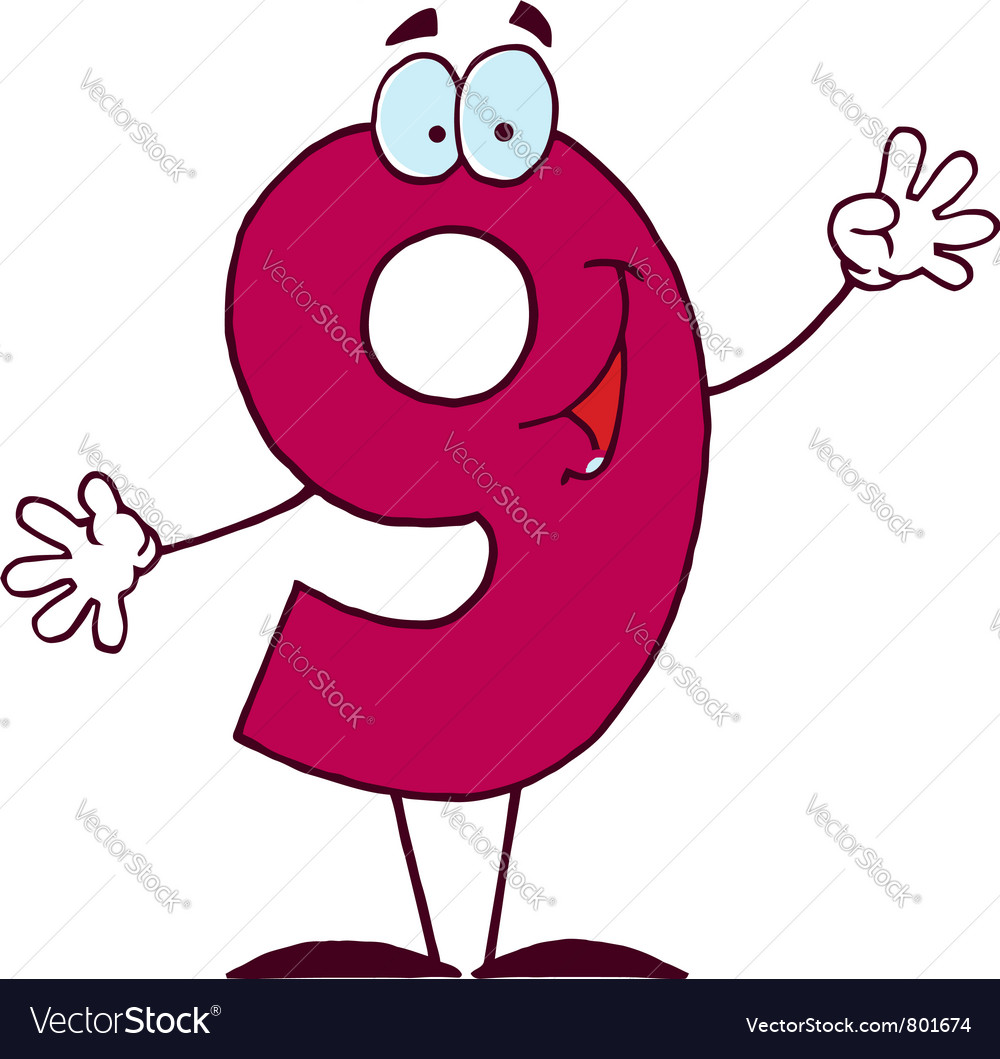 Funny cartoon numbers-9 vector | Price: 1 Credit (USD $1)