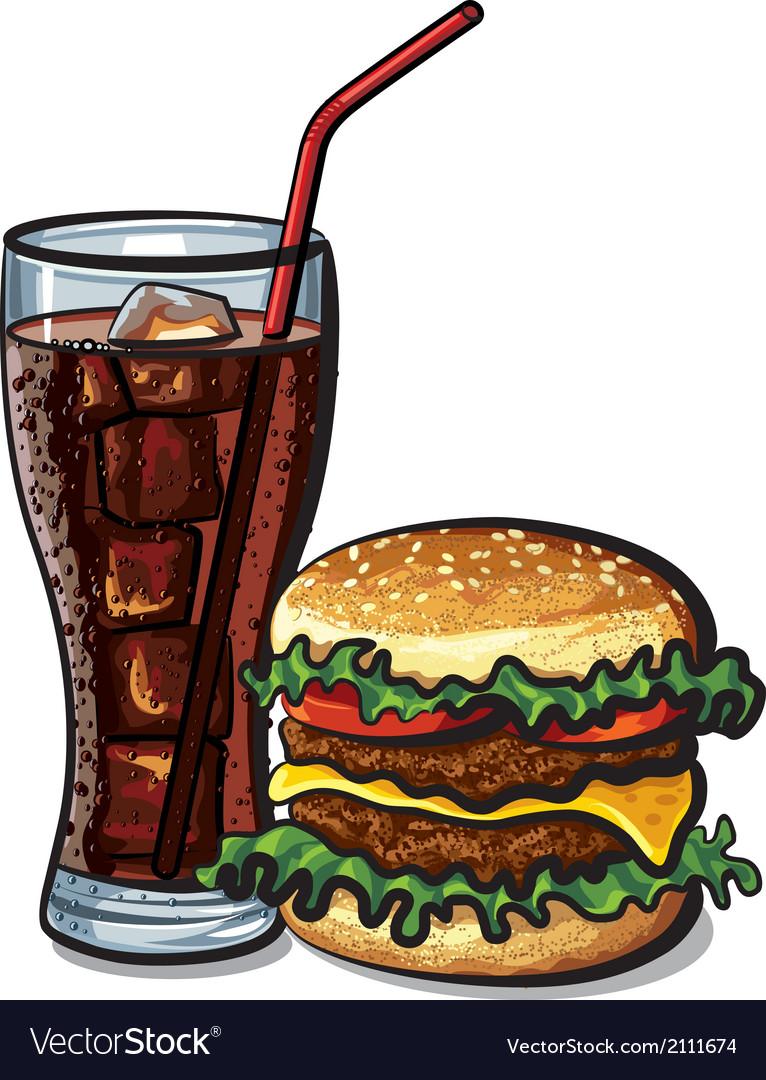 Hamburger and cola vector | Price: 3 Credit (USD $3)