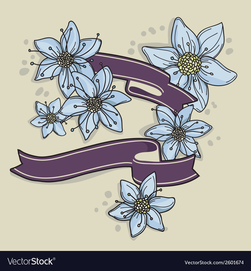 Hand drawn floral background with ribbons vector | Price: 1 Credit (USD $1)