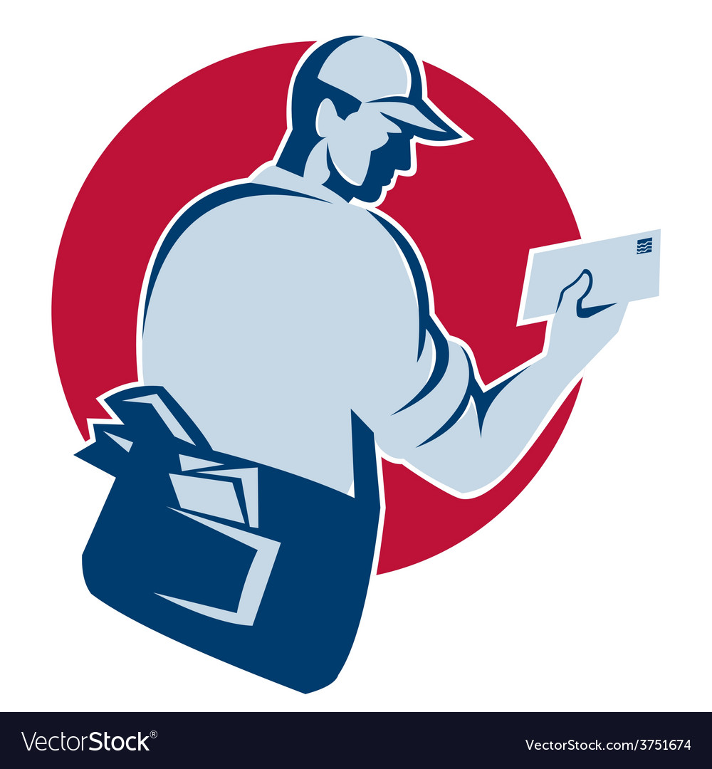 Mailman postman deliver mail envelope retro vector | Price: 1 Credit (USD $1)