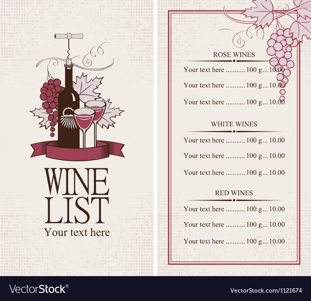 Menu with a bottle of wine vector | Price: 1 Credit (USD $1)