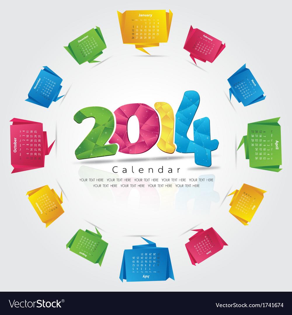 Origami calendar 2014 vector | Price: 1 Credit (USD $1)