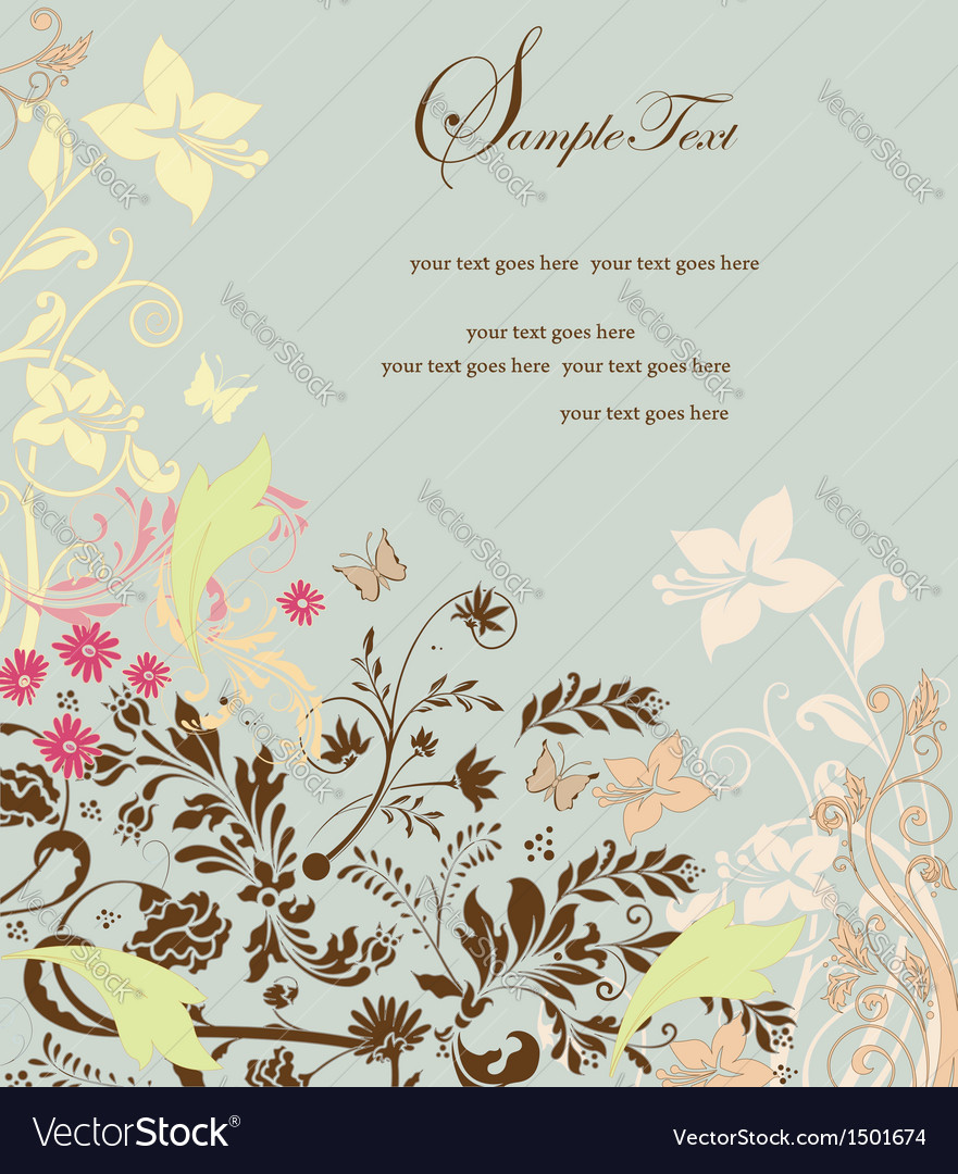 Retro floral card for events vector | Price: 1 Credit (USD $1)
