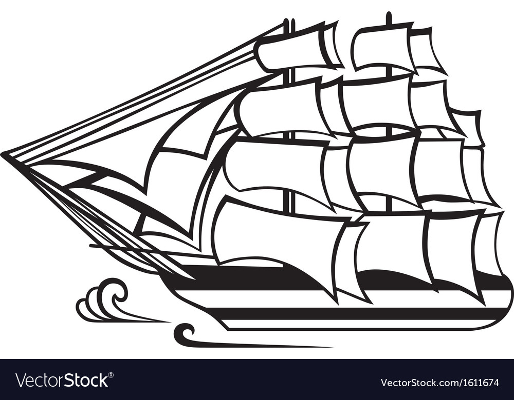 Vintage wooden tall ship vector | Price: 1 Credit (USD $1)