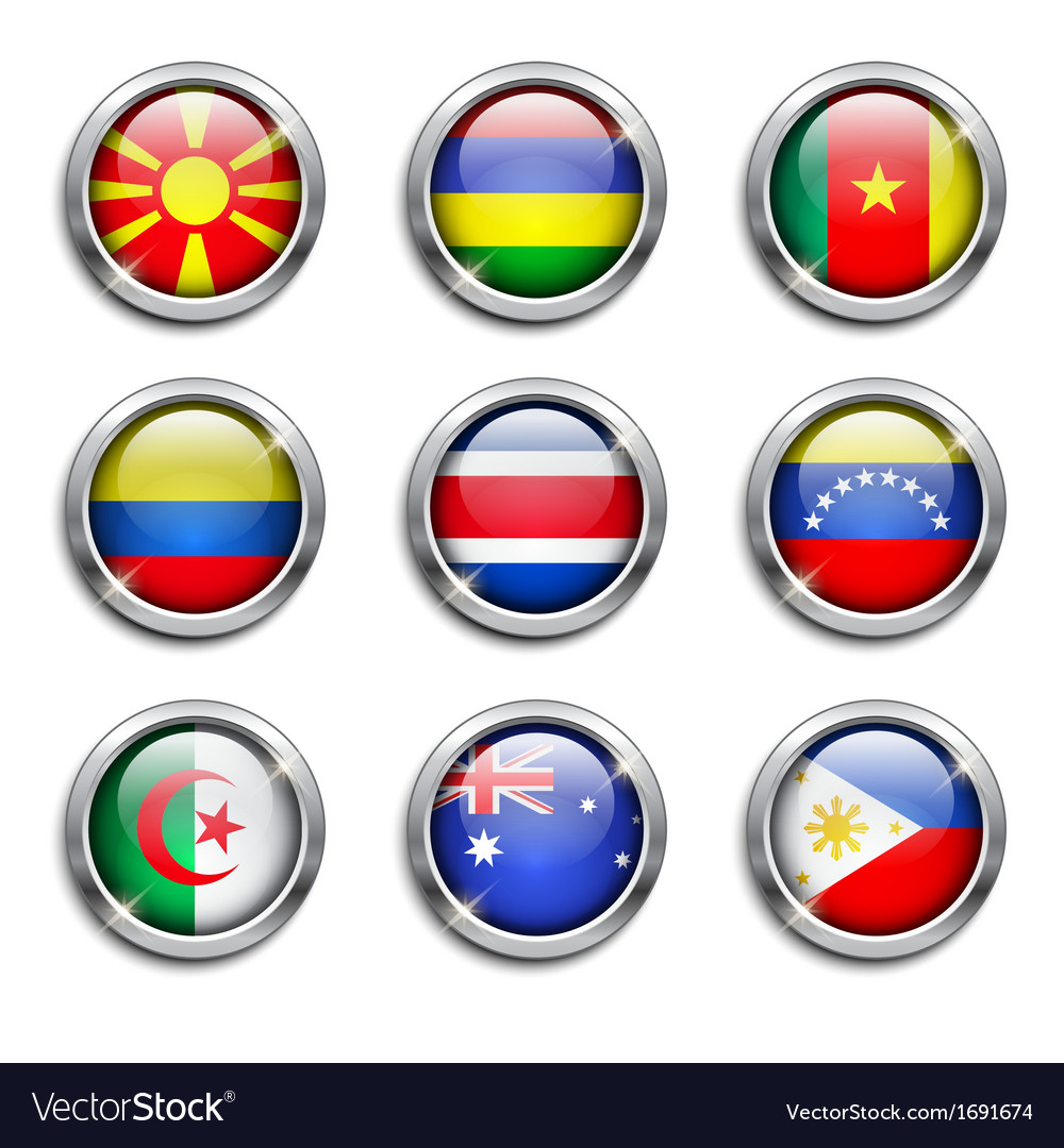 World flags round buttons vector   Price: 1 Credit (USD $1)