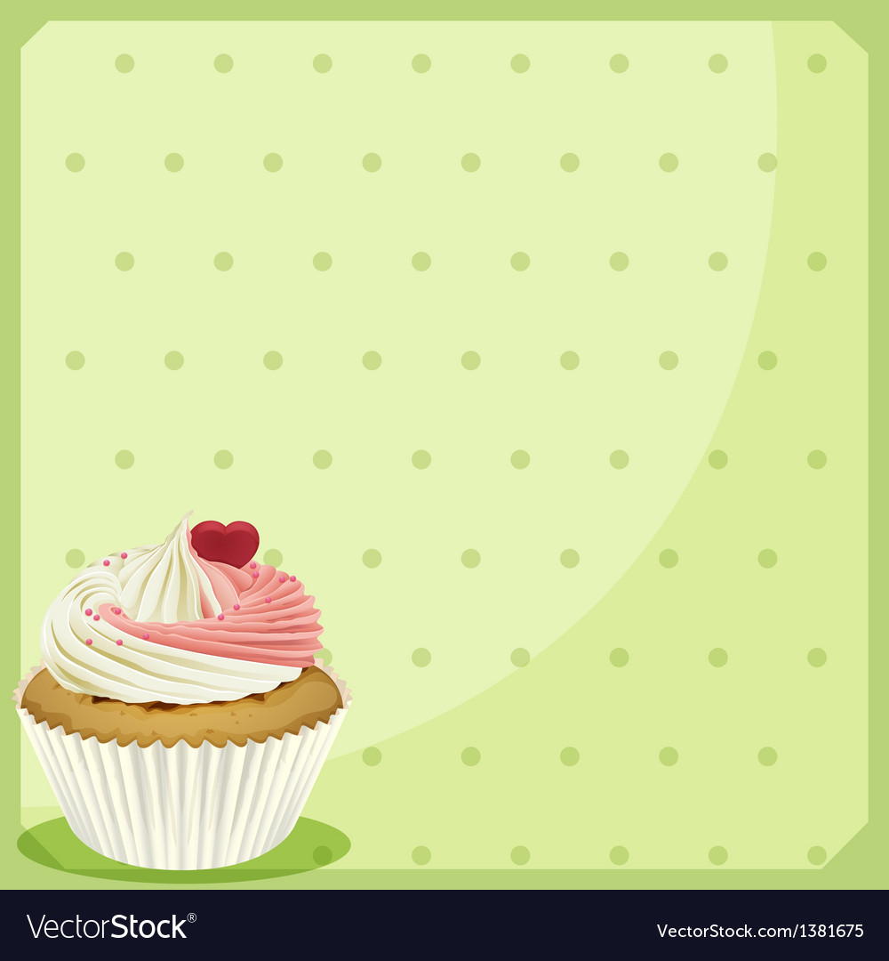 A cupcake in a green wallpaper vector | Price: 1 Credit (USD $1)