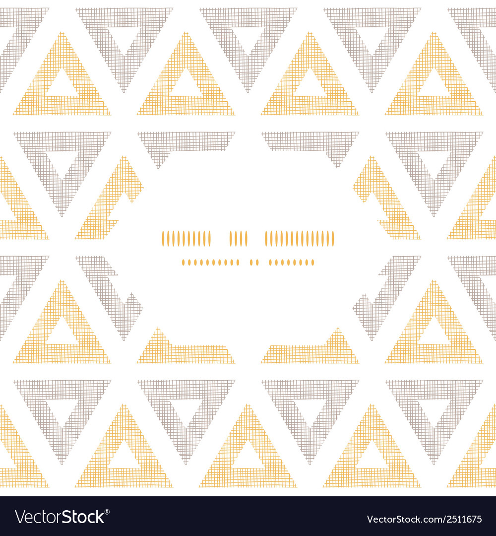 Abstract textile ikat yellow brown triangles frame vector   Price: 1 Credit (USD $1)