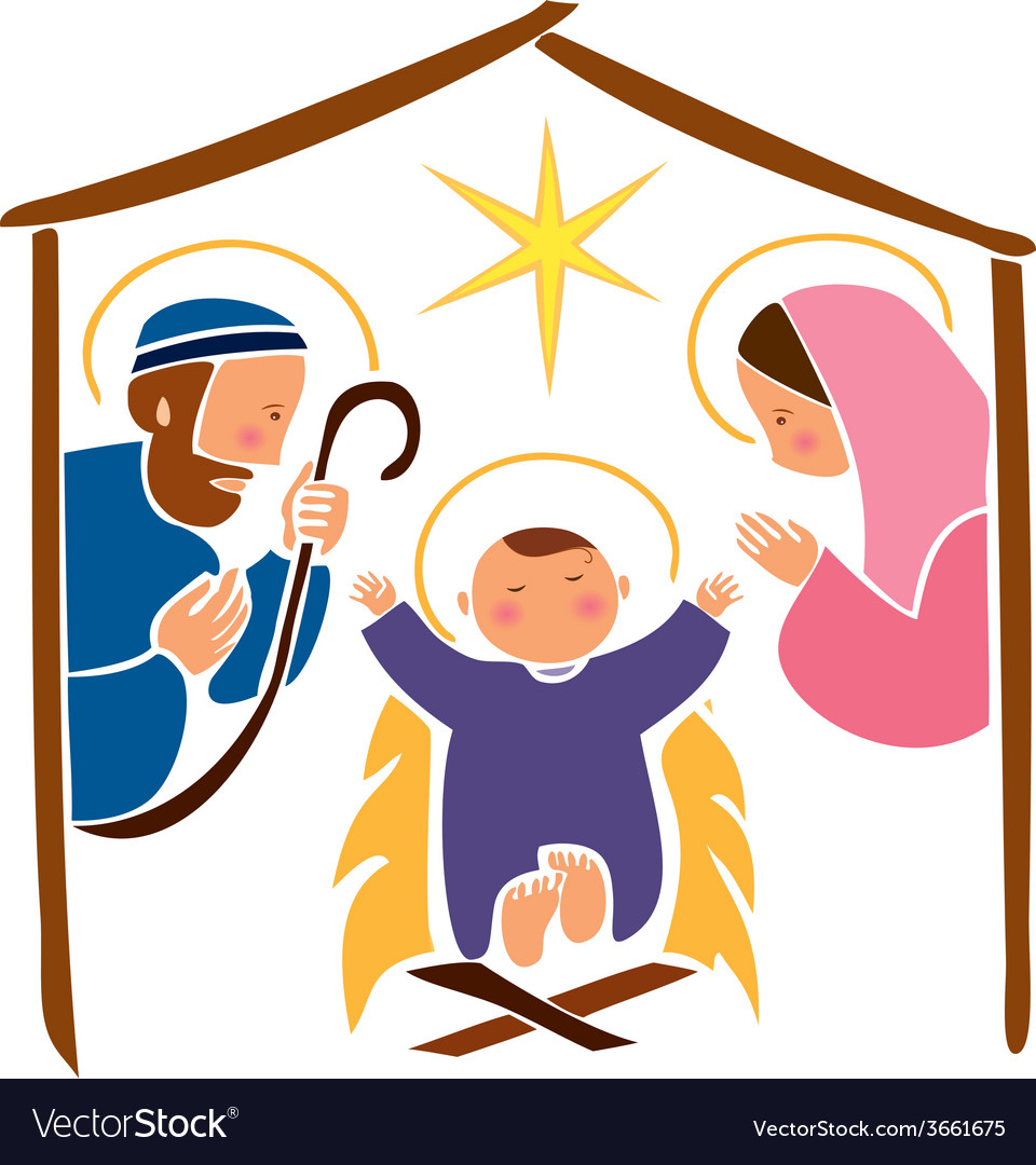 Baby jesus in a manger 7 vector | Price: 1 Credit (USD $1)