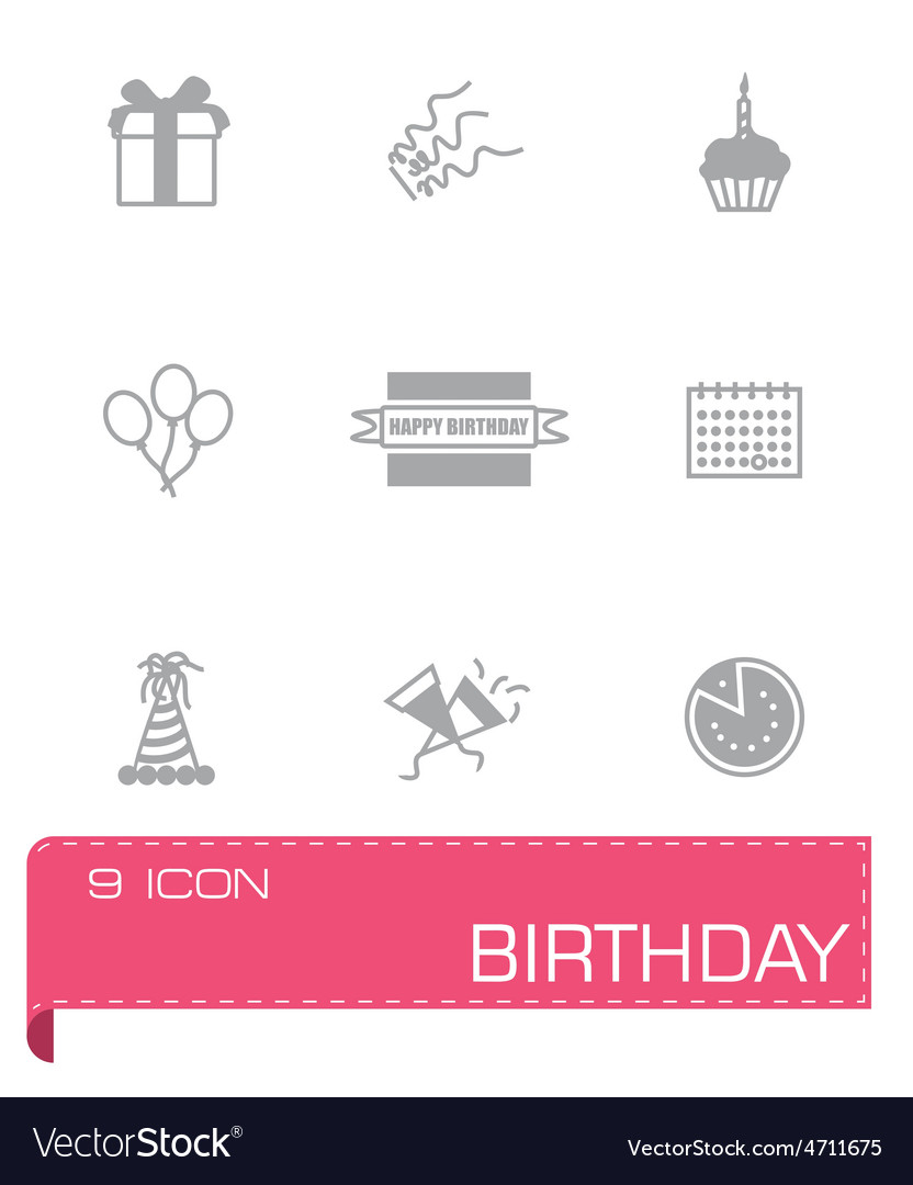 Birthaday icon set vector | Price: 1 Credit (USD $1)