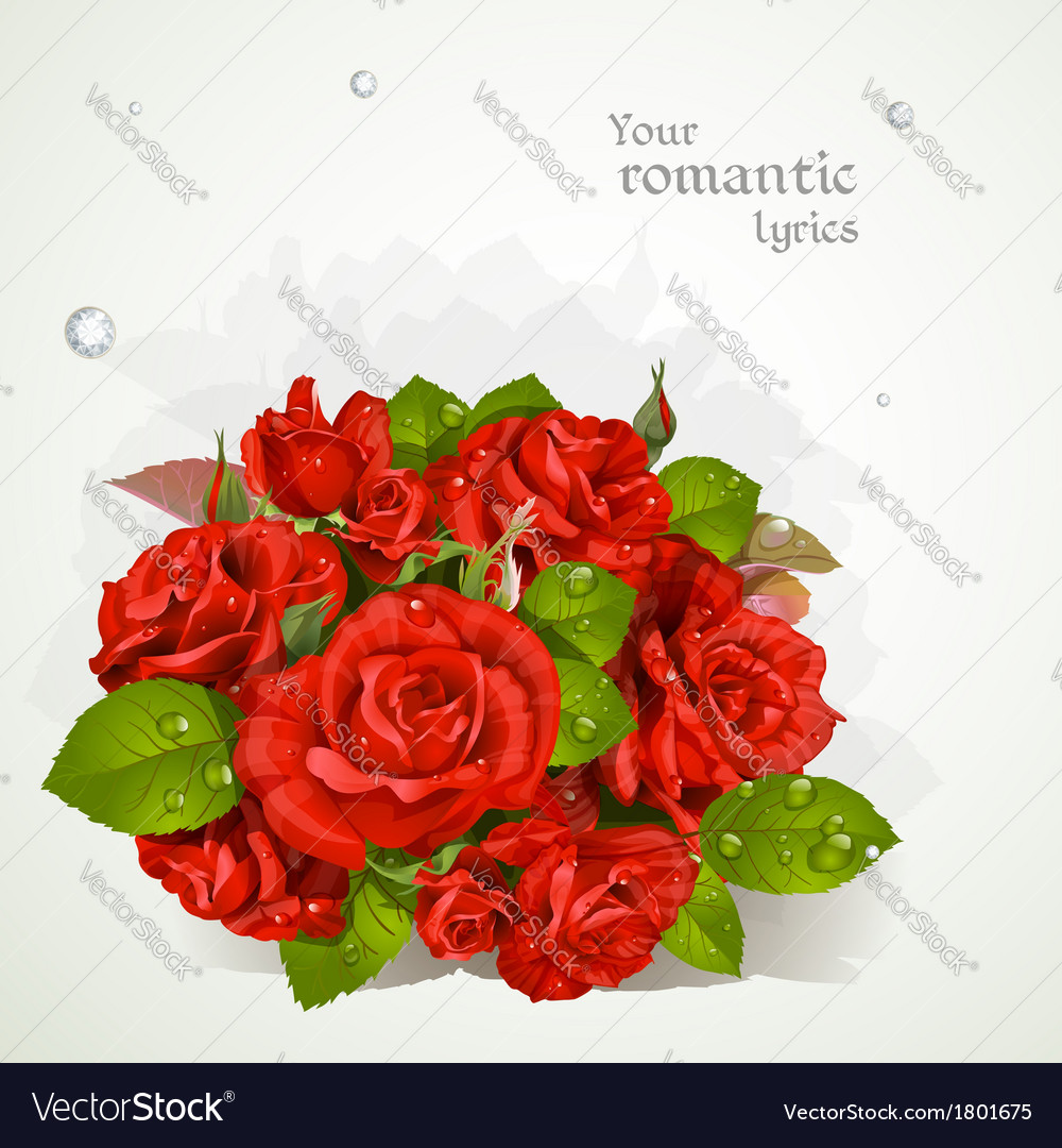 Bouquet of red roses with a field for your lyrics vector | Price: 1 Credit (USD $1)