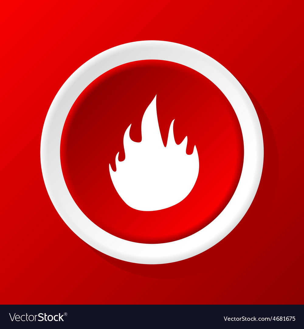 Fire icon on red vector | Price: 1 Credit (USD $1)