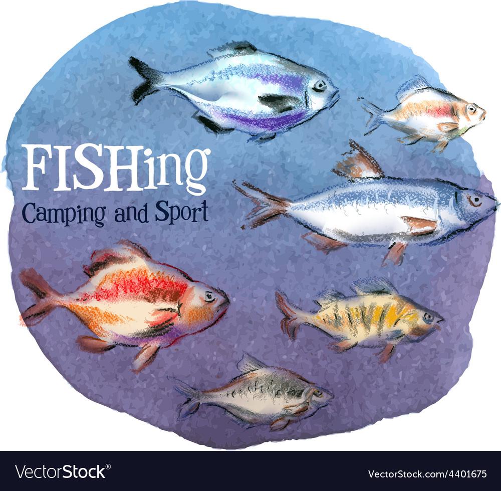 Fishing logo design template fresh fish or vector | Price: 3 Credit (USD $3)