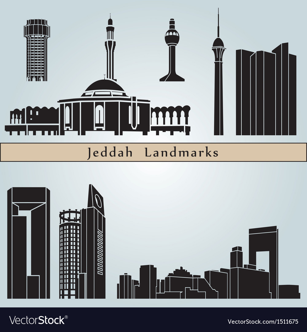 Jeddah landmarks and monuments vector | Price: 3 Credit (USD $3)