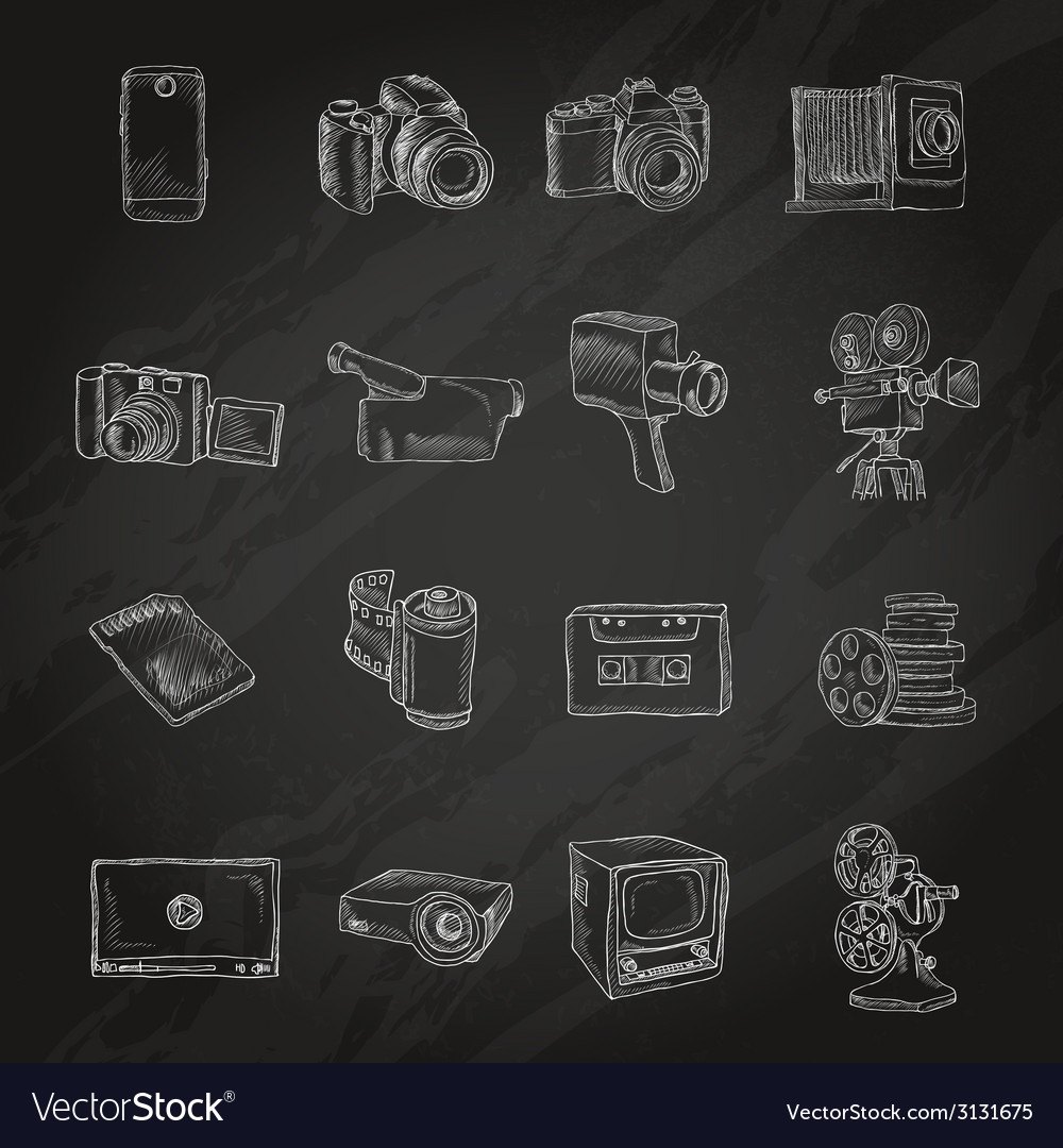 Photo video icons chalkboard vector | Price: 1 Credit (USD $1)