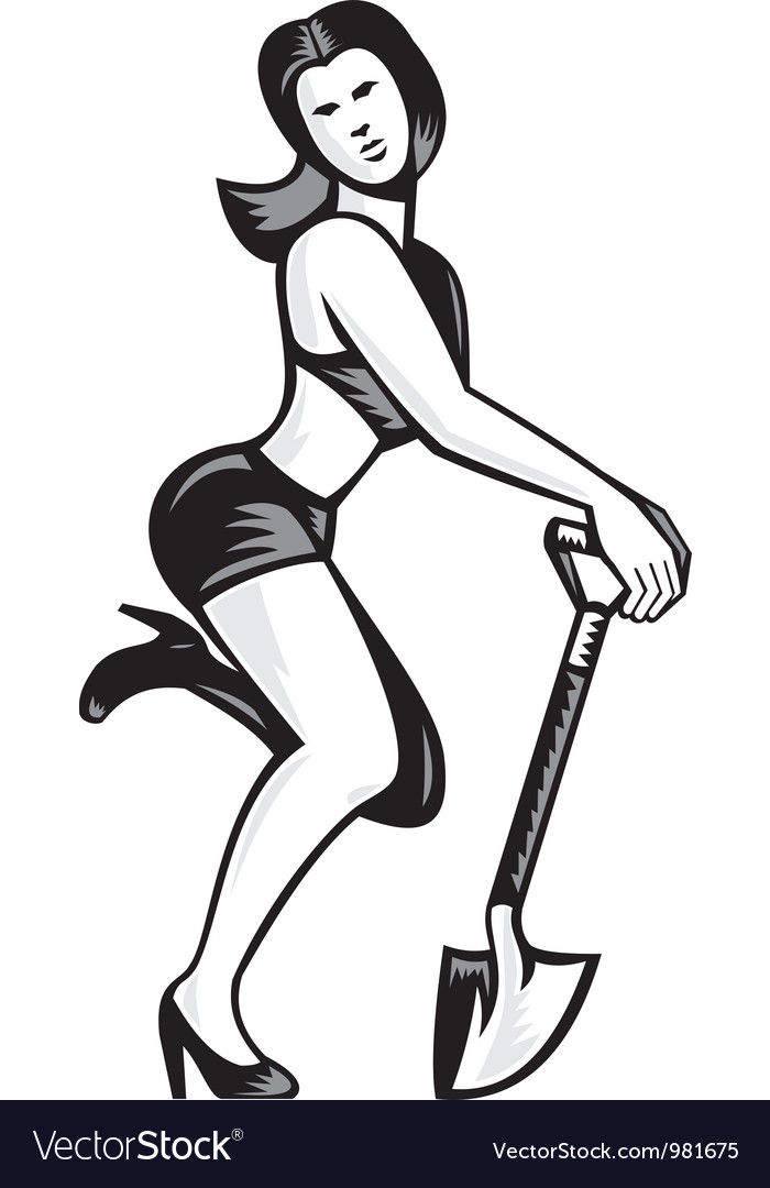 Pin-up girl with shovel spade retro vector | Price: 1 Credit (USD $1)