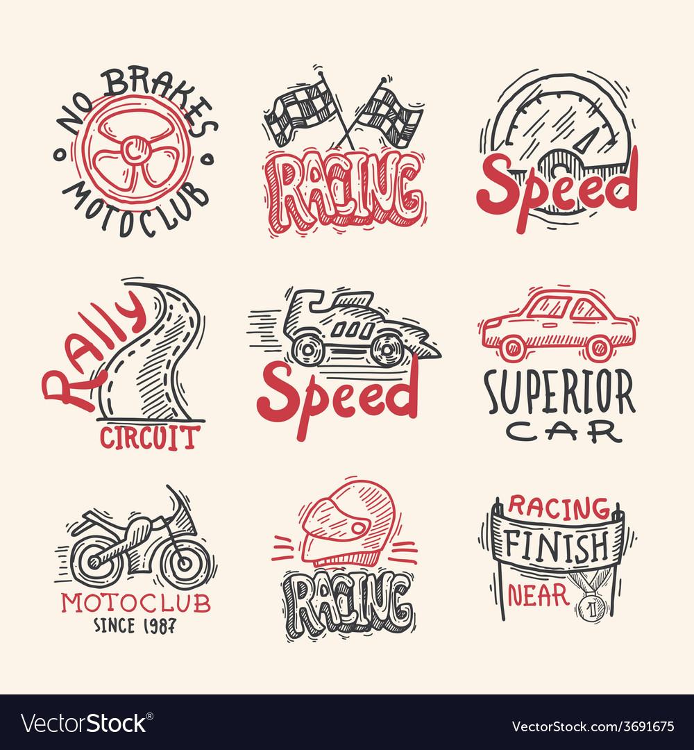 Racing emblems set vector | Price: 1 Credit (USD $1)