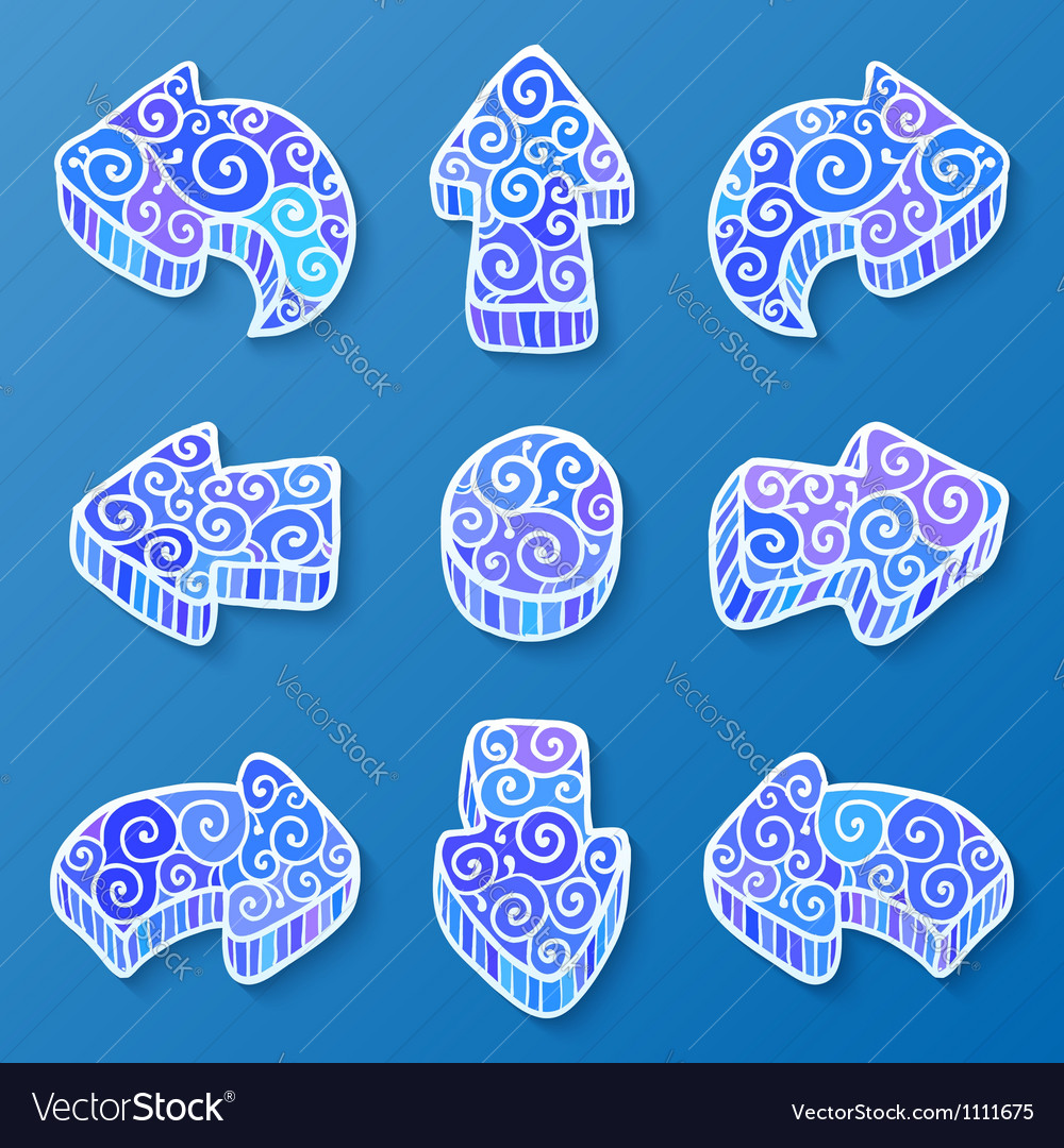 Set of blue and white doodle ornate arrows vector   Price: 1 Credit (USD $1)