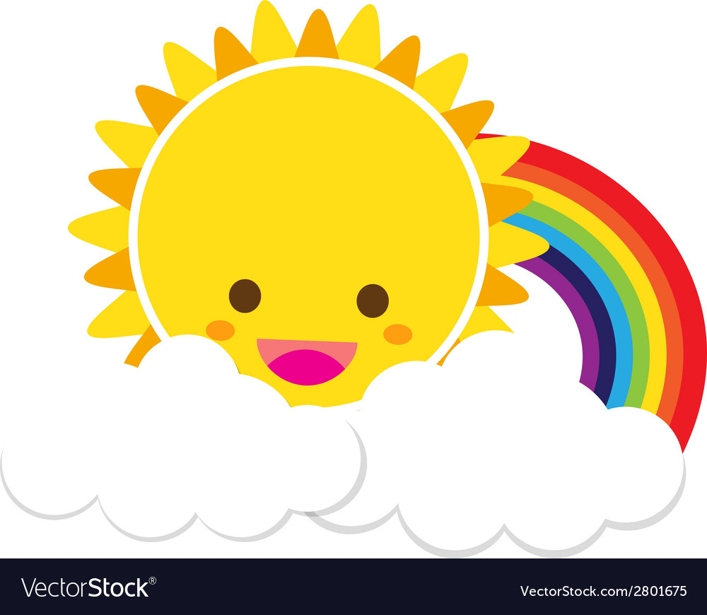 Sun rainbow and cloud 002 vector | Price: 1 Credit (USD $1)
