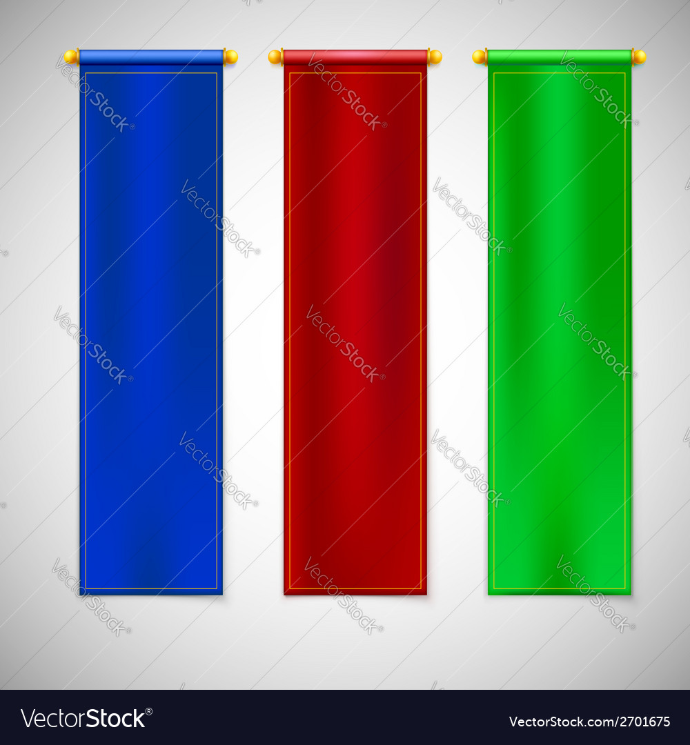 Vertical colored flags with emblems vector | Price: 1 Credit (USD $1)