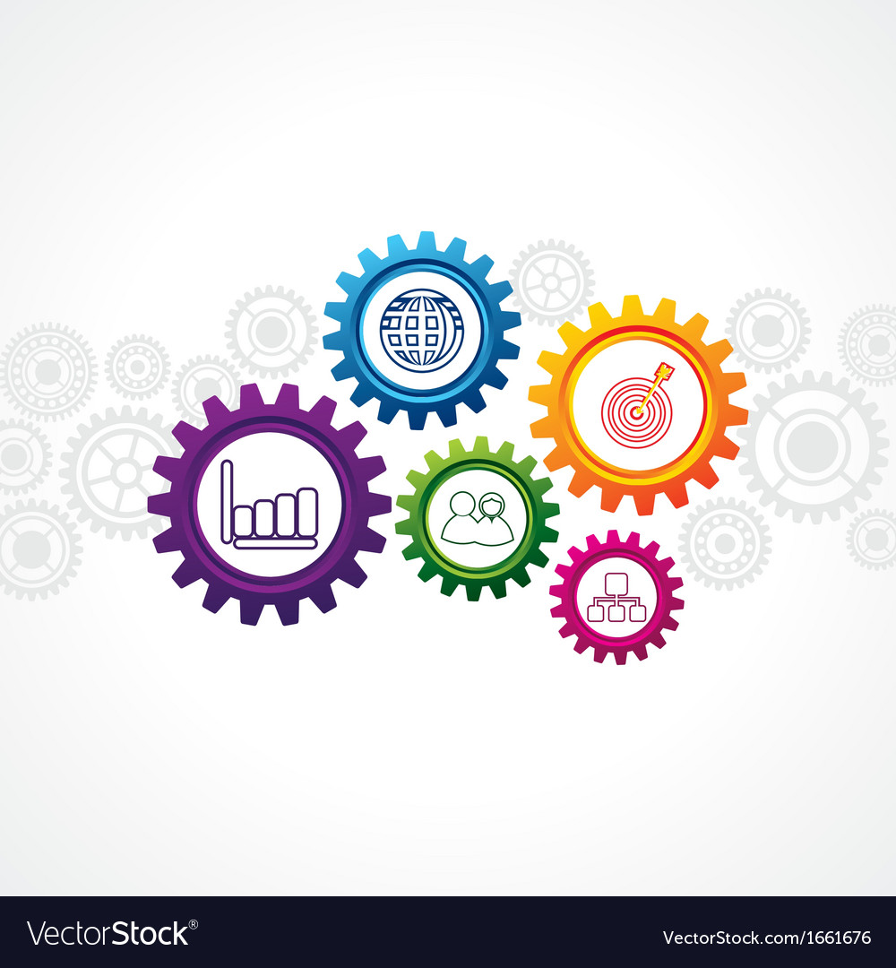 Business icons in cog wheel vector | Price: 1 Credit (USD $1)