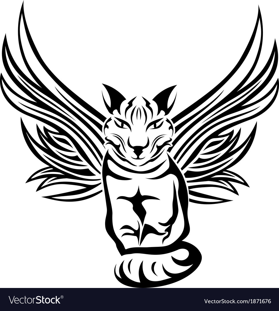 Cat with wings tattoo stencil vector | Price: 1 Credit (USD $1)
