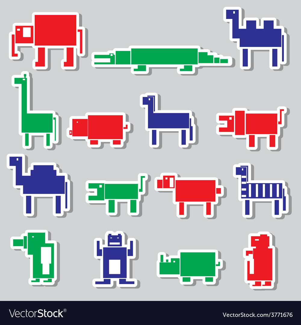 Color square digital simple retro animals stickers vector | Price: 1 Credit (USD $1)