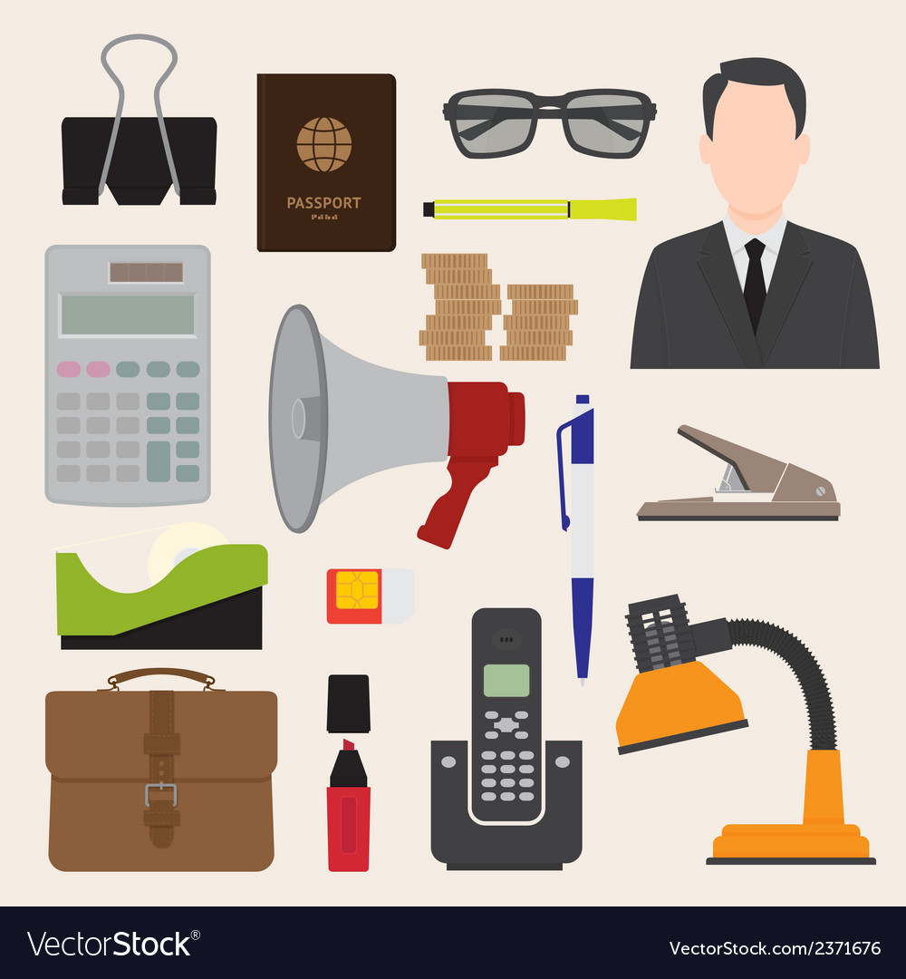 Flat icons office business collection set 1 vector | Price: 1 Credit (USD $1)