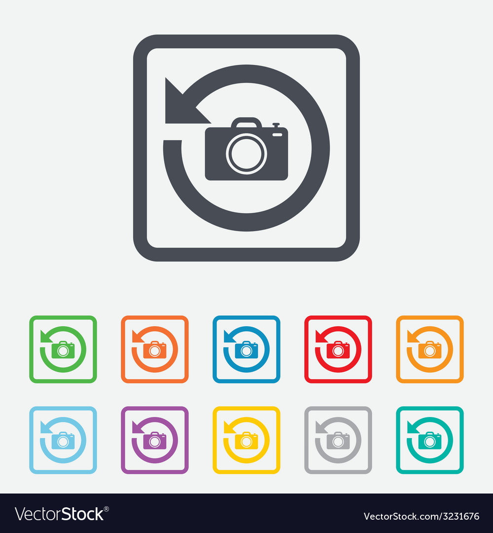 Front photo camera sign icon change symbol vector | Price: 1 Credit (USD $1)