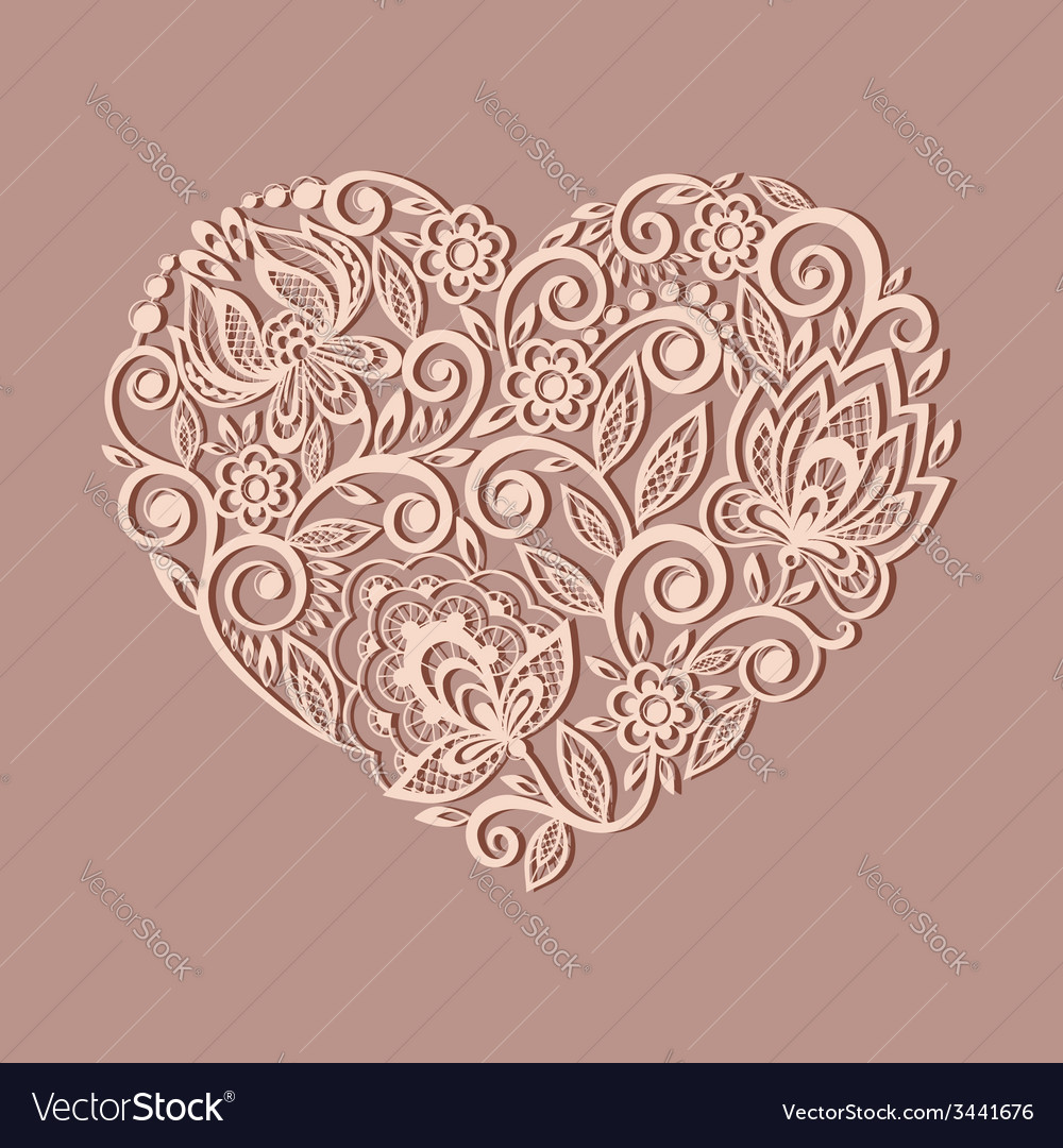 Heart symbol decorated with floral pattern vector | Price: 1 Credit (USD $1)