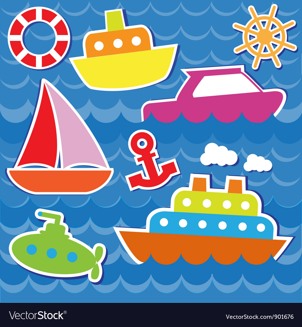 Marine transport stickers vector | Price: 1 Credit (USD $1)