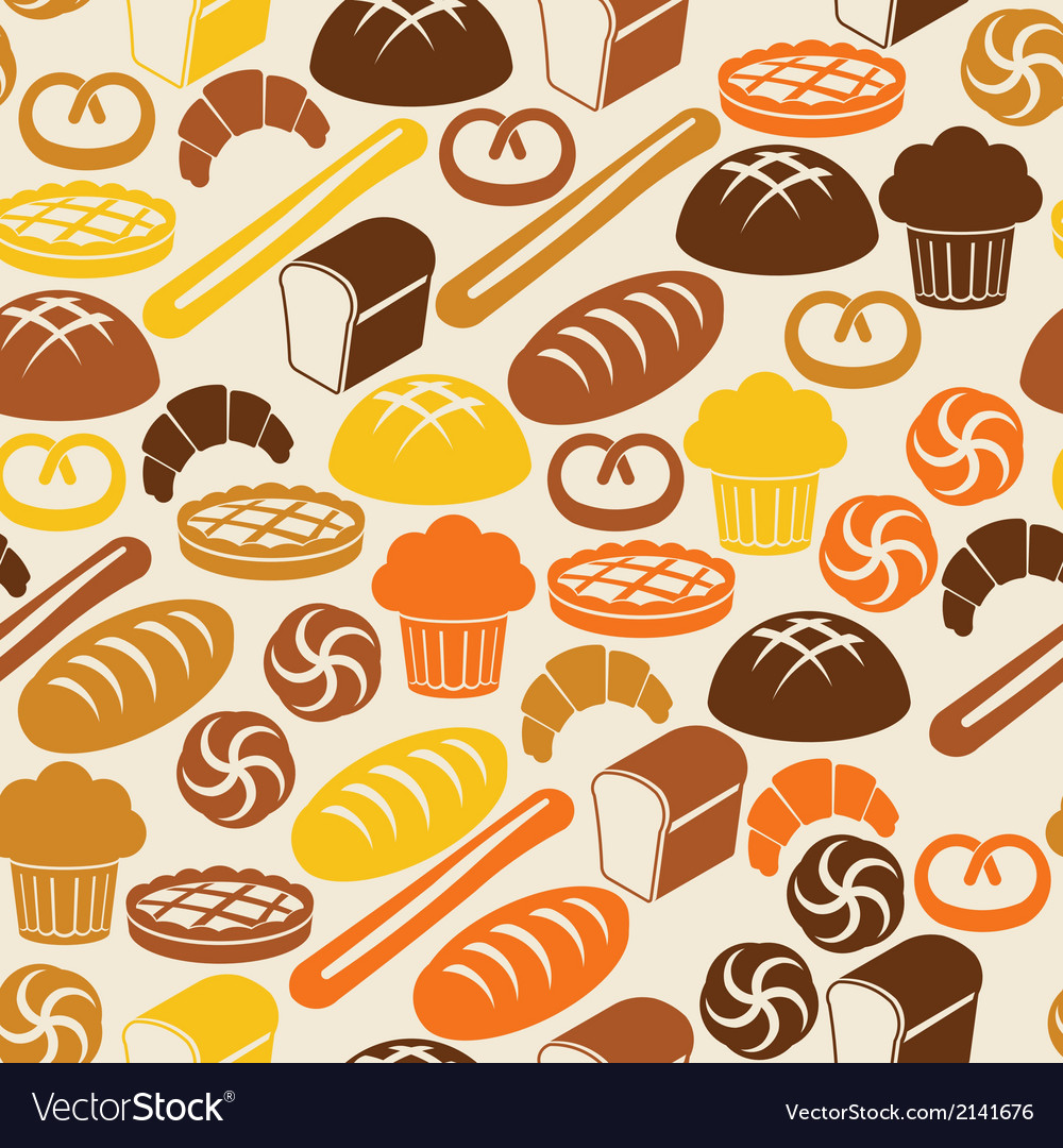 Seamless retro pattern with fresh bread vector | Price: 1 Credit (USD $1)