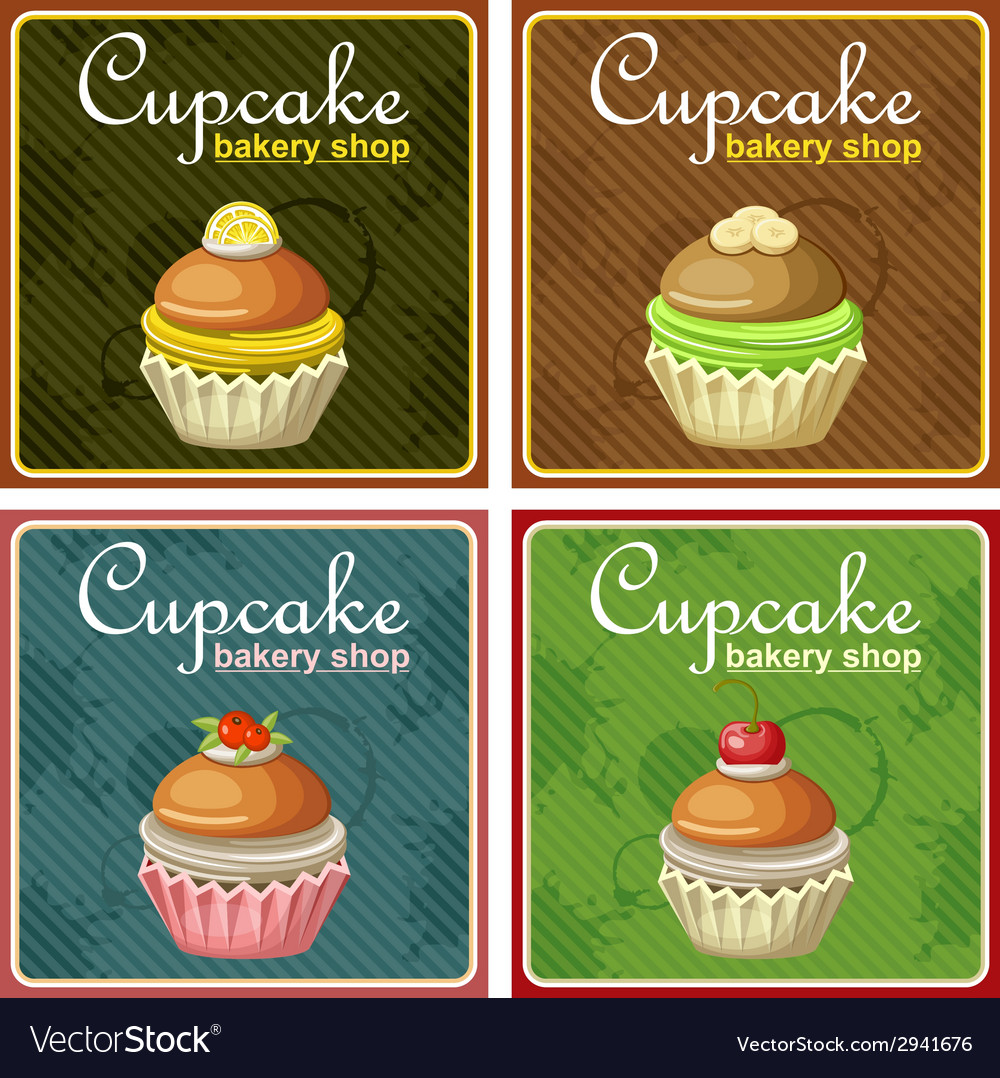 Set of four vintage posters cupcake vector | Price: 1 Credit (USD $1)
