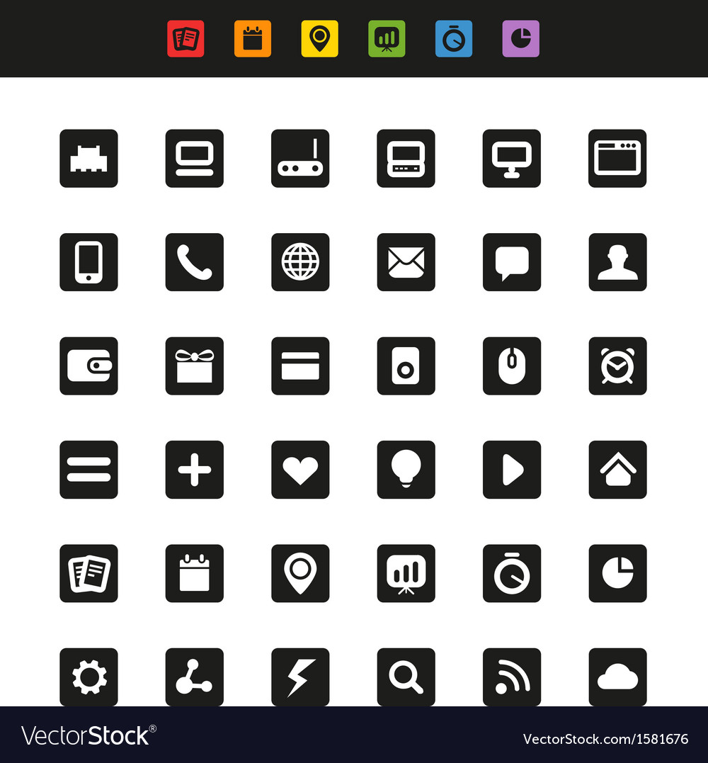 Simple web navigation pictograms collection vector | Price: 1 Credit (USD $1)