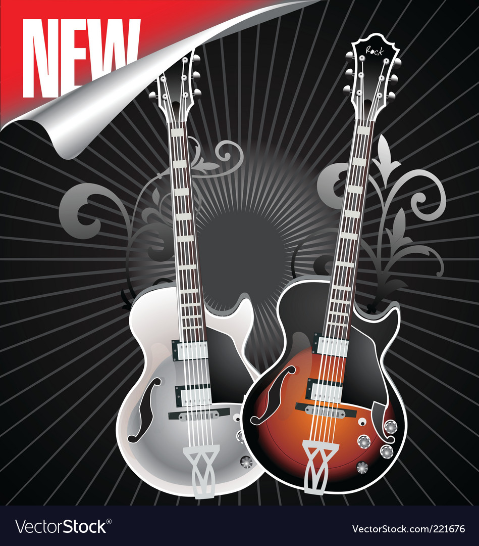 Vintage retro guitar vector | Price: 1 Credit (USD $1)