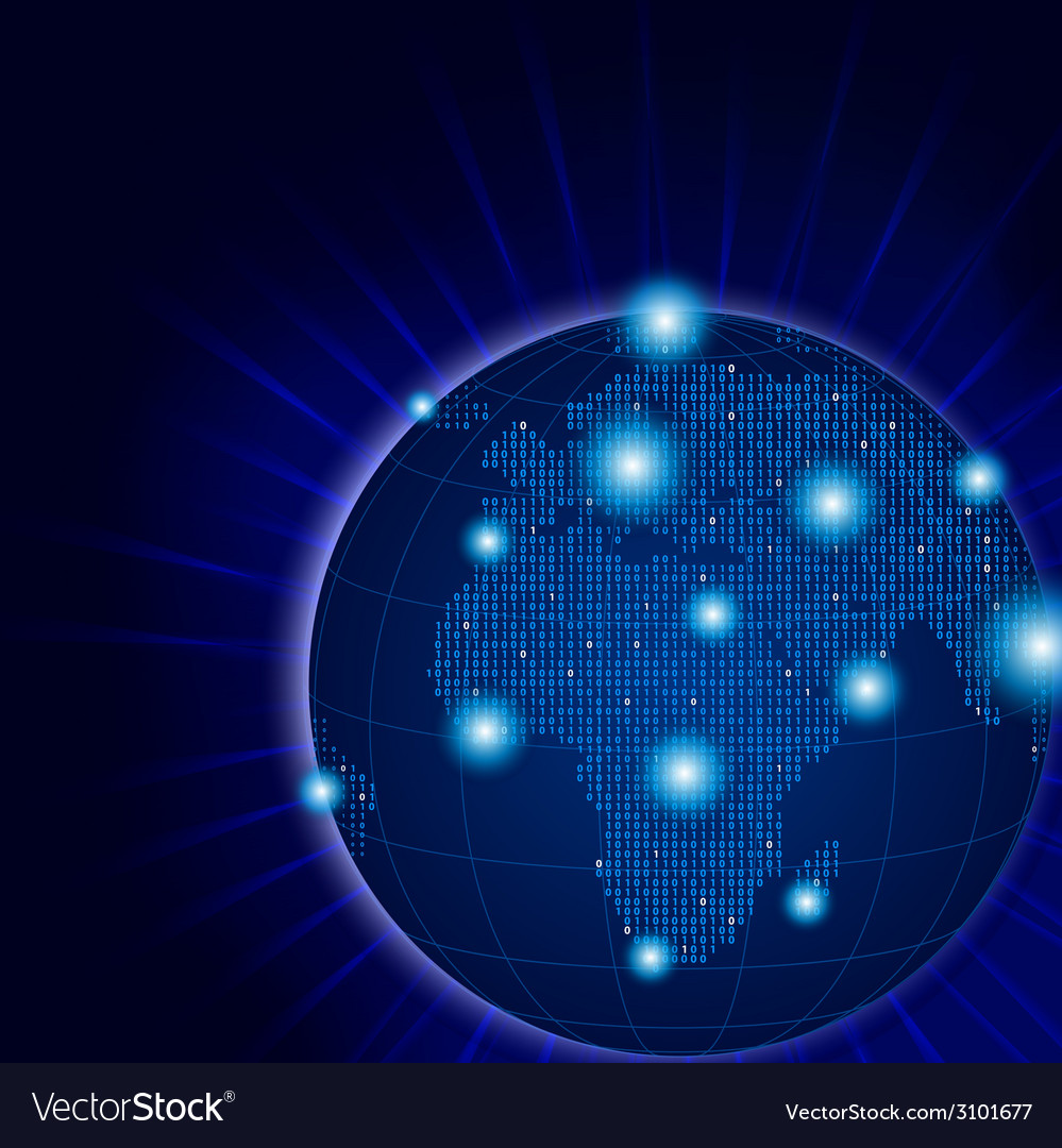 Europa and africa pixel globe with lights effect vector | Price: 1 Credit (USD $1)