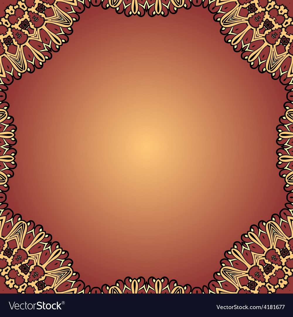 Henna coloured blank card decorative vintage vector | Price: 1 Credit (USD $1)