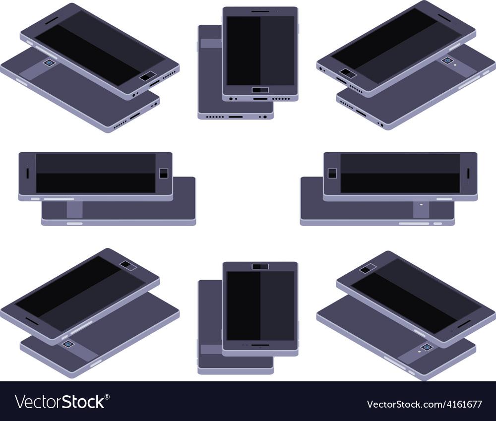 Isometric generic black smartphone vector | Price: 1 Credit (USD $1)