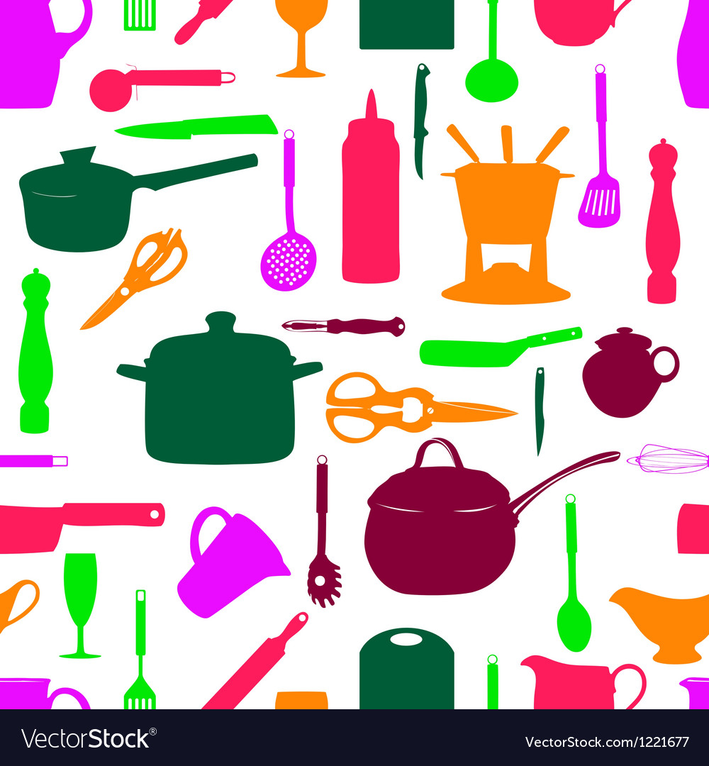 Kitchen tools seamless pattern silhouette vector | Price: 1 Credit (USD $1)