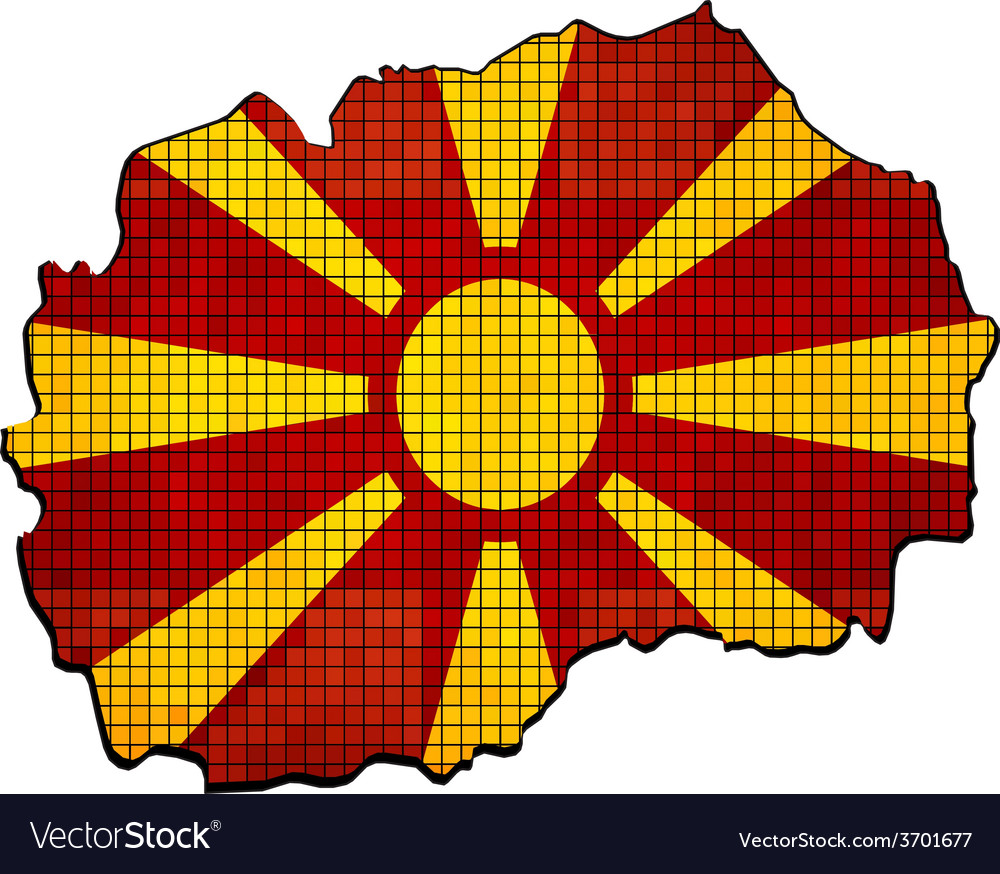 Macedonia map with flag inside vector | Price: 1 Credit (USD $1)