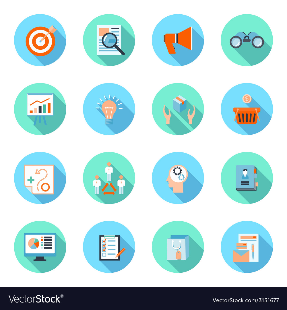 Marketers flat icons set vector | Price: 1 Credit (USD $1)
