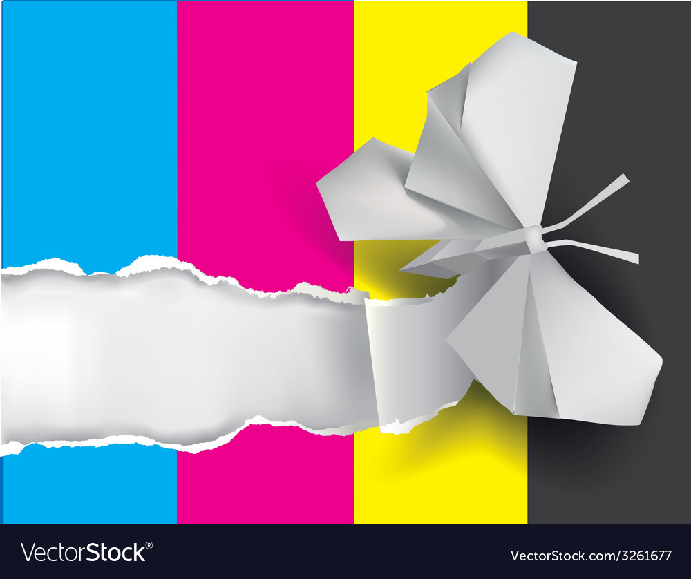 Origami butterfly ripping paper with print colors vector | Price: 1 Credit (USD $1)