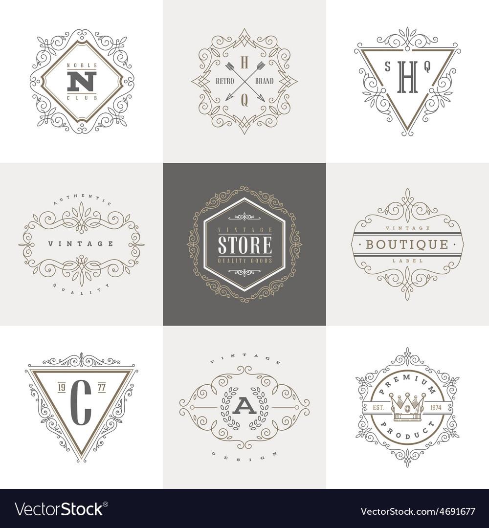 Set of monogram calligraphic logo vector | Price: 1 Credit (USD $1)