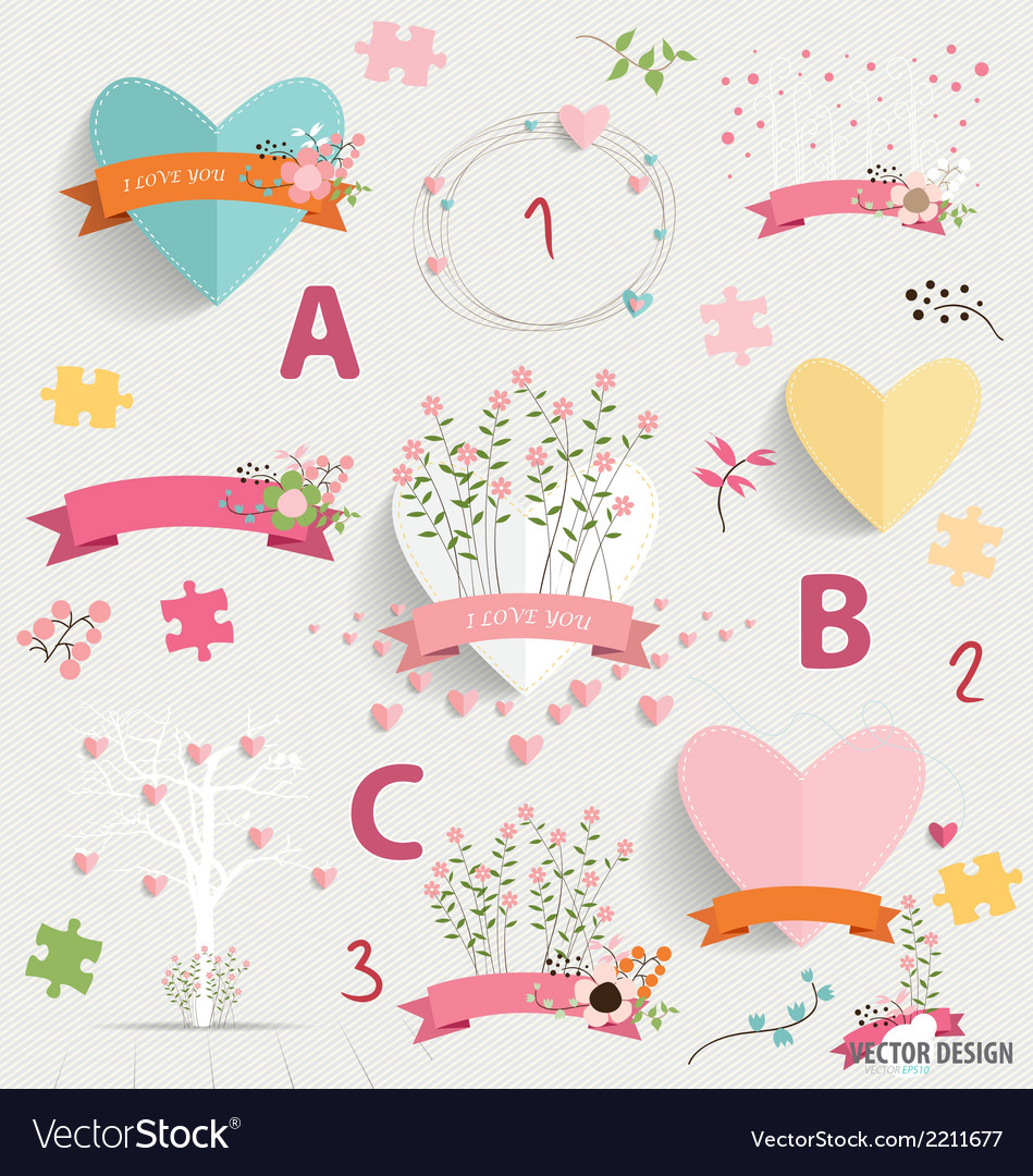 Spring floral background with cute floral bouquets vector | Price: 1 Credit (USD $1)