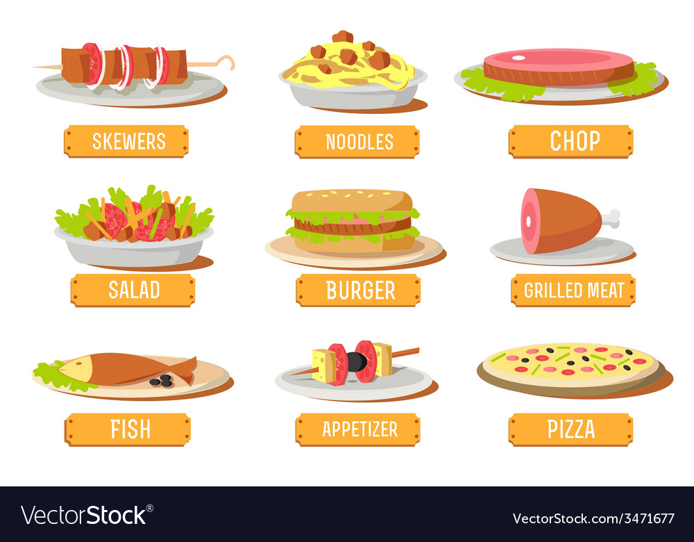 Various dishes icons set concept design vector | Price: 1 Credit (USD $1)