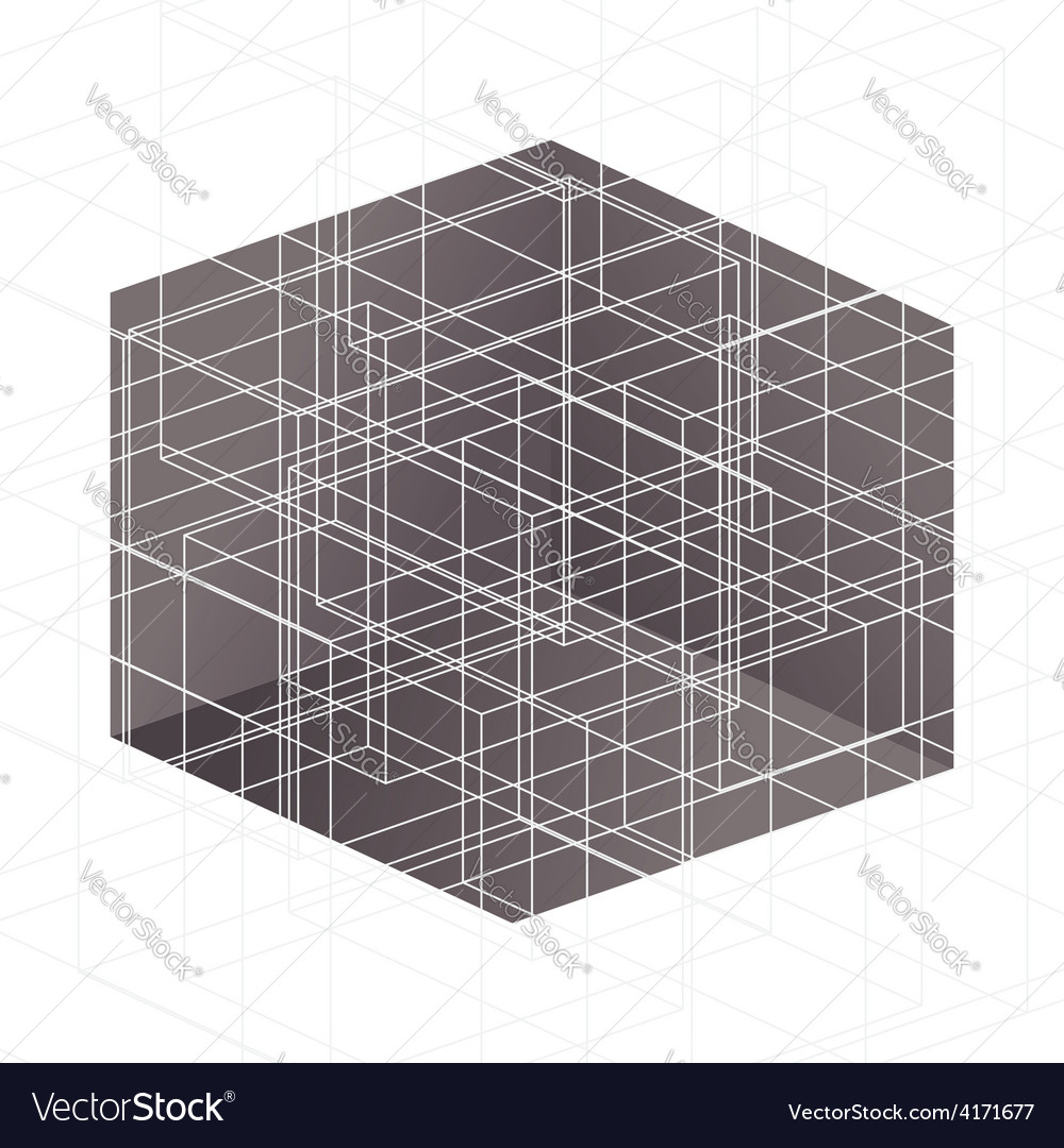 White lines above brown cube vector | Price: 1 Credit (USD $1)