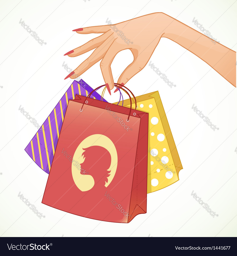 Woman hand with shopping colorful decorative bags vector | Price: 1 Credit (USD $1)